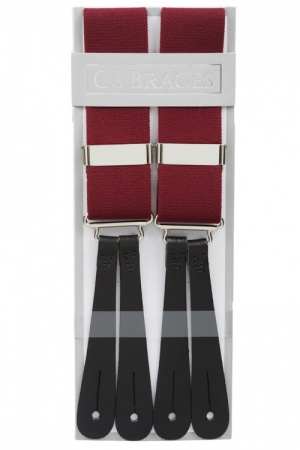 Classic Plain Burgundy Wine Y Back Trouser Braces With Leather Ends